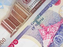 Nigerian currency naira central bank notes, Nigeria money. Close up royalty free stock photography