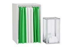 Nigerian election concept, ballot box and voting booths with fla Stock Photo