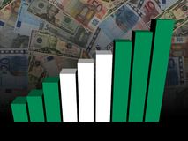 Nigerian flag bar chart over Euros and Dollars illustration Stock Image