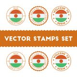 Nigerian flag rubber stamps set. Royalty Free Stock Photos