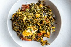 Free Nigerian Food: Delicious Efo Riro Soup With Stock Fish Stock Images - 185024044