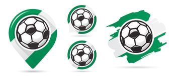 Nigerian football vector icons. Soccer goal. Set of football icons. Football map pointer. Football ball vector illustration