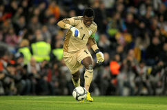 Nigerian goalkeeper Chigozie Agbim. In action during the friendly match between Catalonia and Nigeria at Estadi Cornella on January 2, 2013 in Barcelona, Spain Stock Images