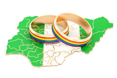Nigerian map with LGBT rainbow rings, 3D rendering Stock Photo