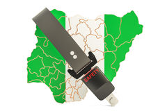 Nigerian map with safety belt. Security and protect or insurance Royalty Free Stock Photography