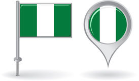 Nigerian pin icon and map pointer flag. Vector Royalty Free Stock Image