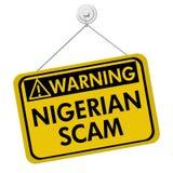 Nigerian Scam Warning Sign stock image
