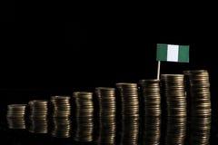 Nigerische Flagge mit Los Münzen auf Schwarzem lizenzfreie stockfotografie