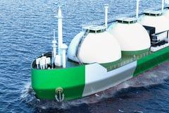Nigeryjski benzynowy tankowa żeglowanie w oceanie, 3D rendering ilustracja wektor