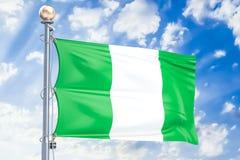 Nigeryjski chorągwiany falowanie w błękitnym chmurnym niebie, 3D rendering ilustracji