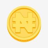 Nigeryjski naira symbol na złocistej monecie ilustracja wektor