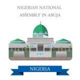 Nigeryjski zgromadzenie narodowe w Abudża Płaskim wektorze il royalty ilustracja