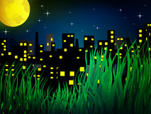 Nigh city with full moon Royalty Free Stock Image