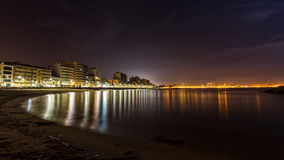Nigh scene on the Coasta Brava in Spain town Palamos Royalty Free Stock Photos