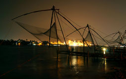 Nighscape of the Chinese fishing nets Royalty Free Stock Photo