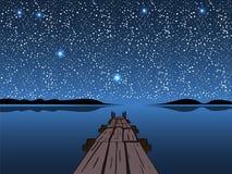 Night湖满天星斗的天空 免版税库存图片