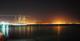 Night. The Night Scenes Of Quiet Port, Red Sea Royalty Free Stock Photography