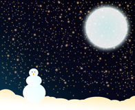 Night. Winter night, big bright moon and snowmen. (card Royalty Free Stock Photos