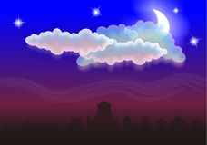 Night. By star night a month peeks out from clouds and down city in fog.Raster illustration Stock Photos