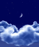 Night. Starry night with clouds and moon Stock Image