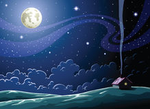 Night. Starry Night in the village, vector Stock Photography