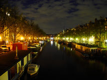 At Night. Residential amsterdam canal at night Stock Image