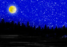Night. Moon, stars and silhouettes of fir trees as background royalty free illustration