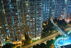 Night. Residential buildings in Hong Kong royalty free stock photo