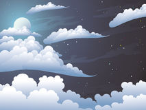 Night. Beauty moonlight night. Silvery clouds in the dark star sky Stock Images