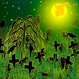 Night at an abandoned Halloween in the cemetery. Vector illustration. Night at an abandoned cemetery. In the light of the moon, crows, graves, rats and rickety stock illustration
