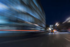 Night acceleration speed motion. Abstract in blue Stock Photo
