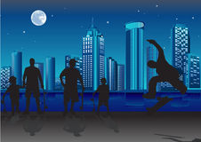 Night action in the city Royalty Free Stock Photos