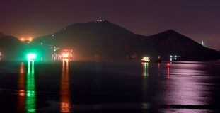 Night activity in industrial cargo port. stock photography