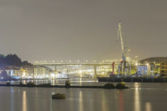 Night activity at the naval factories. Royalty Free Stock Images