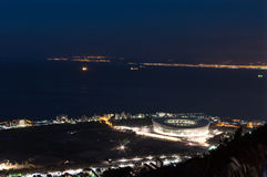 Night Aereial view of Green Point Stadium Royalty Free Stock Images