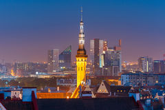 Night aerial cityscape of Tallinn, Estonia Stock Images