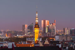 Night aerial cityscape of Tallinn, Estonia Royalty Free Stock Images