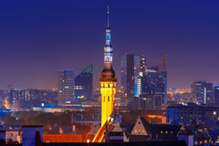 Night aerial cityscape of Tallinn, Estonia Stock Photos