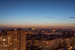 Night aerial cityscape view to urban modern apartment buildings in Voronezh Stock Images