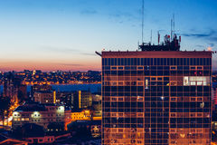 Night aerial cityscape view to urban modern apartment buildings in Voronezh Royalty Free Stock Photography