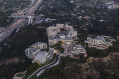 Night Aerial of the Getty Museum and the San Diego 405 Freeway i Stock Photography