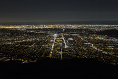 Night Aerial Glendale and Downtown Los Angeles Royalty Free Stock Image