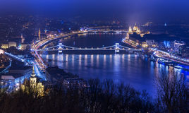 Night aerial panorama of Budapest, popular tourist destination in Europe, Hungary Royalty Free Stock Image