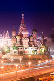 Night aerial panorama of Moscow Cathedral of Saint Basil the Blessed Royalty Free Stock Image