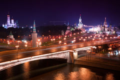 Night aerial panorama to Bolshoy Moskvoretsky Bridge, towers of Moscow Kremlin and Saint Basil Cathedral Royalty Free Stock Photography