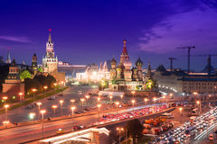 Night aerial panorama to Saint Basil Cathedral, Bolshoy Moskvoretsky Bridge and towers of Moscow Kremlin Stock Photography