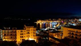 Night Aerial Panoramic view to Saranda city and bay of Ionian sea, Albania royalty free stock images