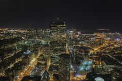Night aerial view of the Boston cityscape Stock Photo