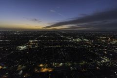 South Los Angeles California Night Aerial View Royalty Free Stock Images