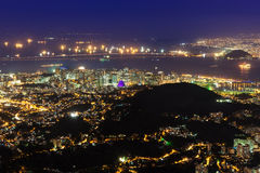 Night aerial view of Centro, Lapa, Flamengo and Ð¡athedral. Rio de Janeiro Royalty Free Stock Images